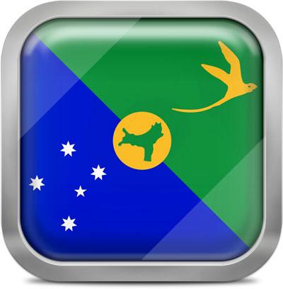 Christmas Island square flag with metallic frame
