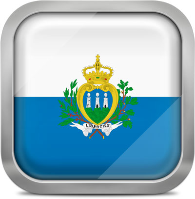 San Marino square flag with metallic frame