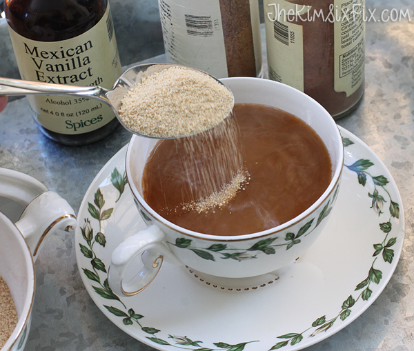 Adding honey granules to coffee
