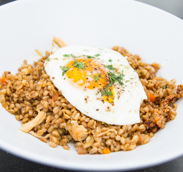 close-up photo of Chicken Fried Farro