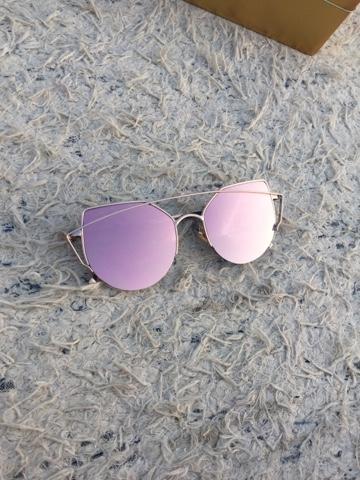 cd91b85aca9 Gold Cross Bar Cat Eye Mirrored Sunglasses - Silver