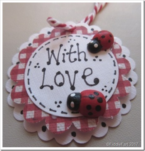 Gingham ladybird tag