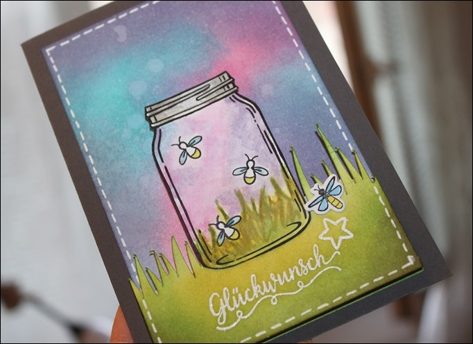 LED Karte Glühwürmchen Distress Ink Stampin Up Glasklare Grüße 02
