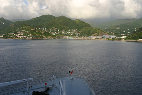 View of Grenada and the bow of the Queen Mary 2