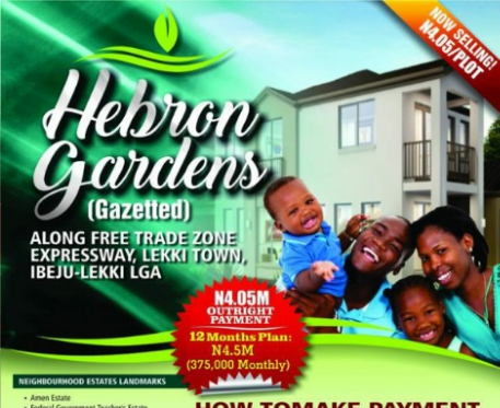 Buy from Hebron Gardens at N4.05m Per Plot