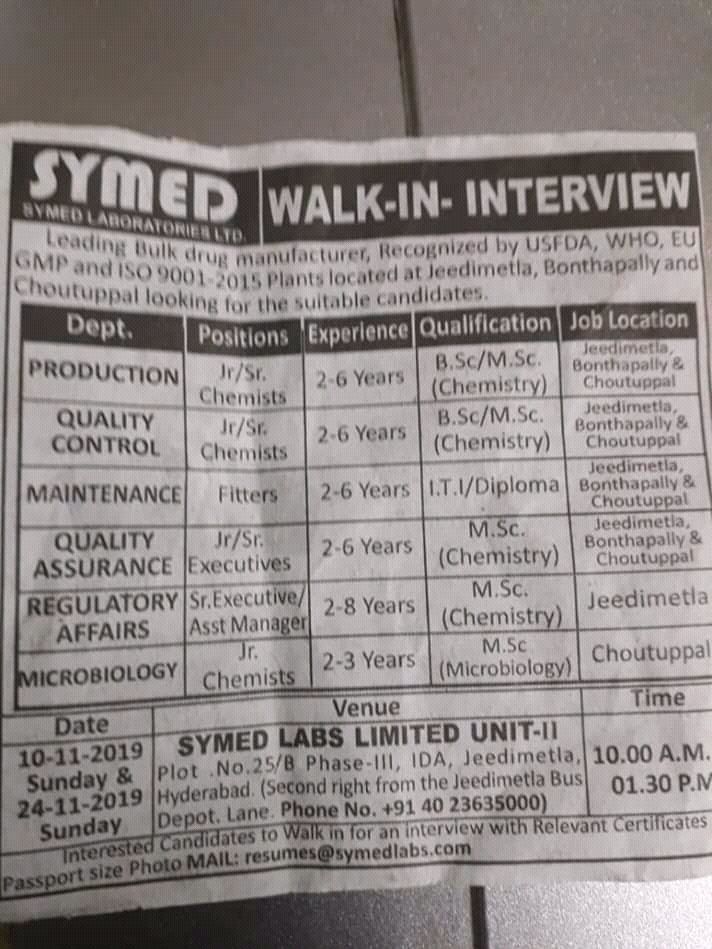 Symed Laboratories Ltd – Walk in interview for Production | QA | QC | Maintenance | Regulatory Affairs | Microbiology on 10th & 24th November 2019
