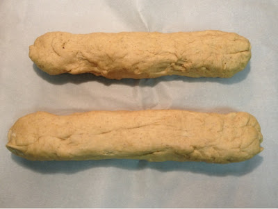 The Zwieback dough, shaped into loaves