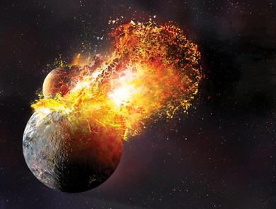 ilustração do impacto que criou a Lua da Terra