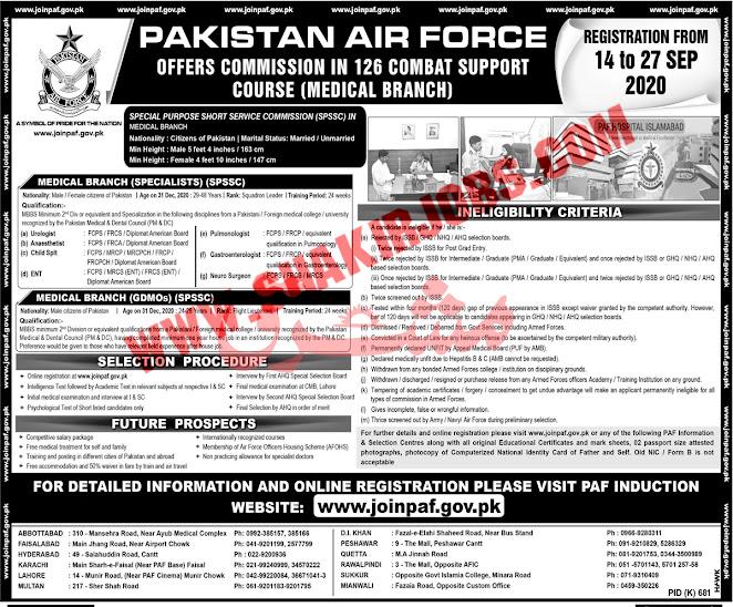 Jobs in Pakistan Air Force PAF Jobs September 2020