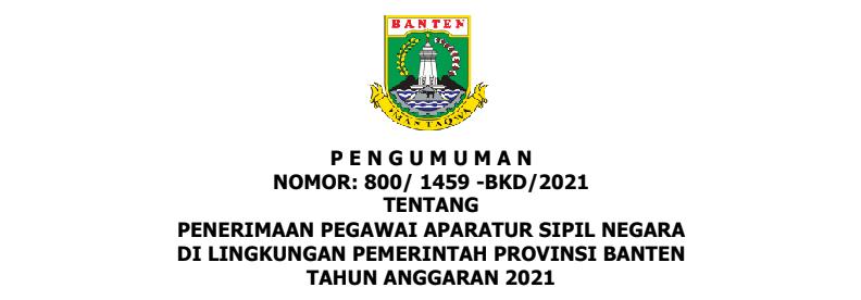 Rincian Formasi CPNS dan PPPK Provinsi Banten Tahun 2021