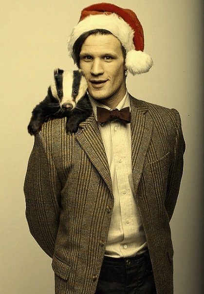Matt Smith and a badger