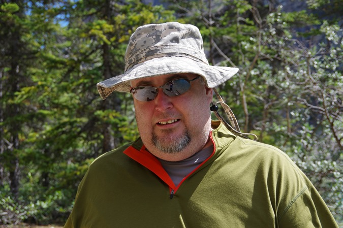 Jordon Cooper and hat at Moraine Lake, Alberta