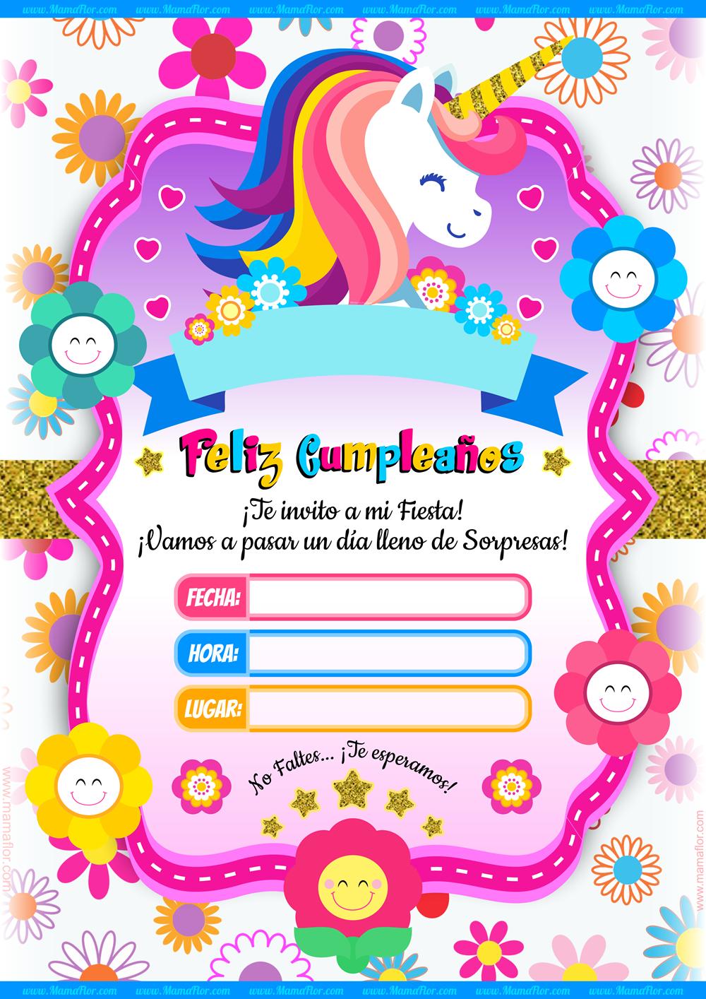 Molde Invitaciones de Unicornio Fiesta Ideas Gratis Imprimir