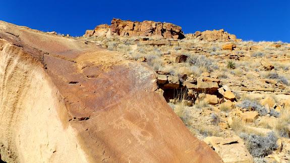 Petroglyphs on fallen boulder