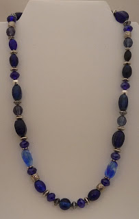"Contemplation - Blue glass beads, crystals, & silver plated spacers  18""  $25"