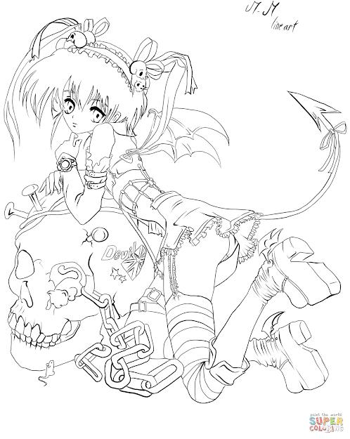 Anime Demon Girl By Gabriela Gogonea