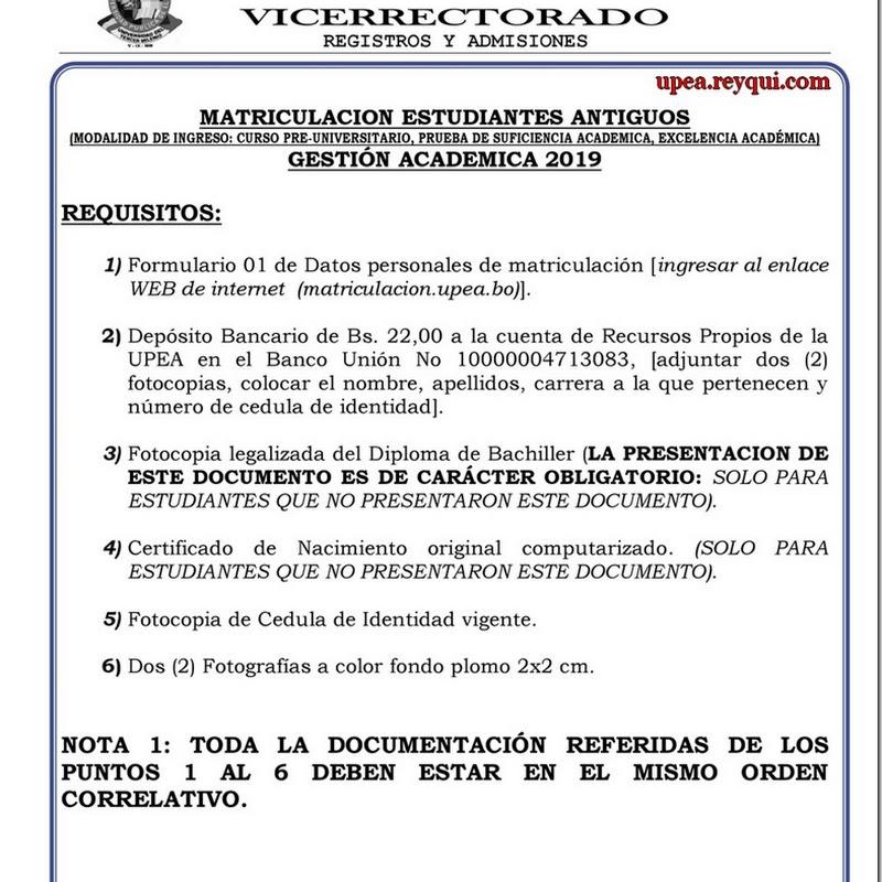 Matriculación UPEA 2019: Requisitos Para Estudiantes Antiguos