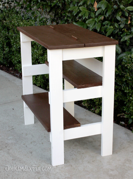Hinged multi step stool bench