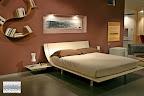 letto Aqua Presotto laccato corda con comodini a mensola con cassetto estraibile nella nostra esposizione di Zogno Bergamo