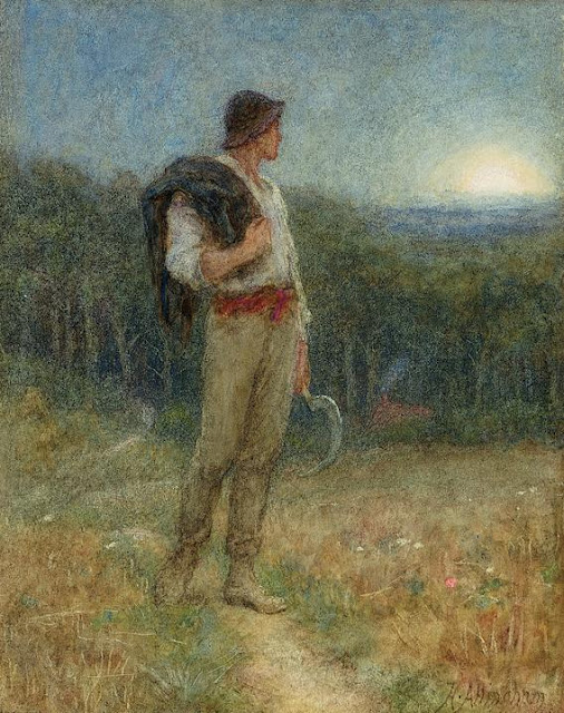 Helen Allingham - Harvest Moon, 'globed in mellow splendour' (1879)
