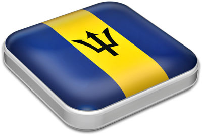 Flag of Barbados  with metallic square frame