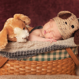 Baby In a Basket by Sandra Hilton Wagner - Babies & Children Babies ( basket, baby, newborn, infant, male )