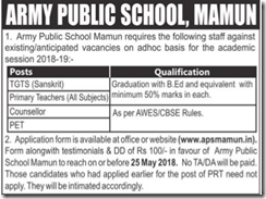 Army Public School Mamun Notice 2018 www.indgovtjobs.in