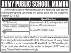 Army Public School Mamun Notice 2018 www.indgovtjobs.in