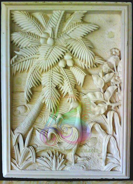 Relief batu alam untuk dinding motif pohon kelapa dan bebek