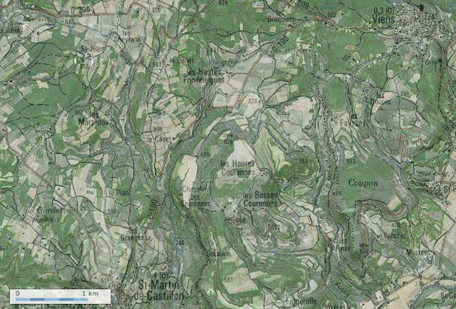 Carte IGN (Géoportail) de la région de Saint-Martin-de-Castillon