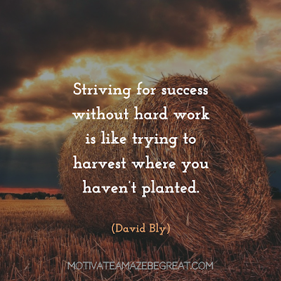 "Quotes About Work Ethic: ""Striving for success without hard work is like trying to harvest where you haven't planted."" - David Bly"