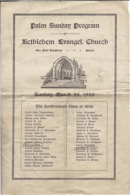 FINK_Dorothy & Elwood_front of baptismal program_26 Mar 1926_New York_enh