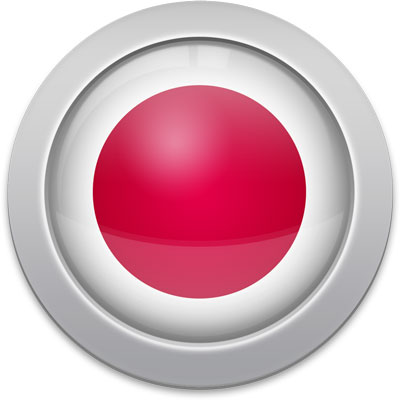 Japanese flag icon with a silver frame