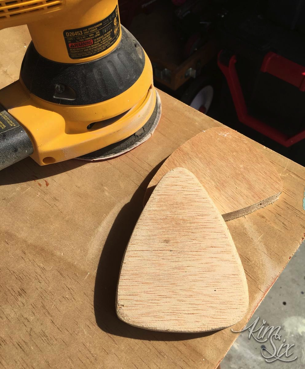 Sanding plywood candy corn