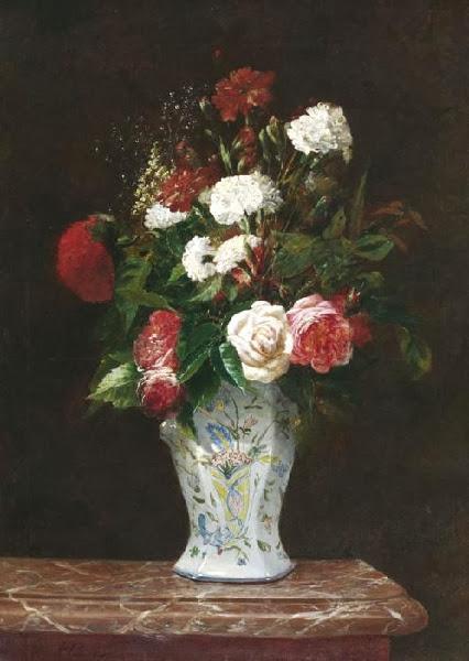 Antoine Vollon - Blumenstilleben mit Rosen, Nelken und Dahlien