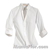 Camisa blanca 3/4 mujer