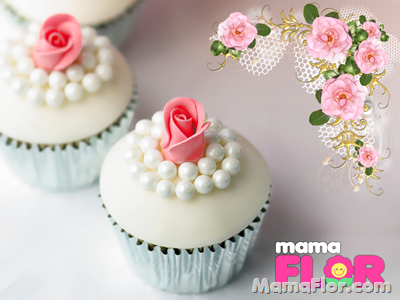 Cupcakes con perlas y rosas de azucar para Boda