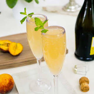 Ginger Peach Champagne Cocktail.