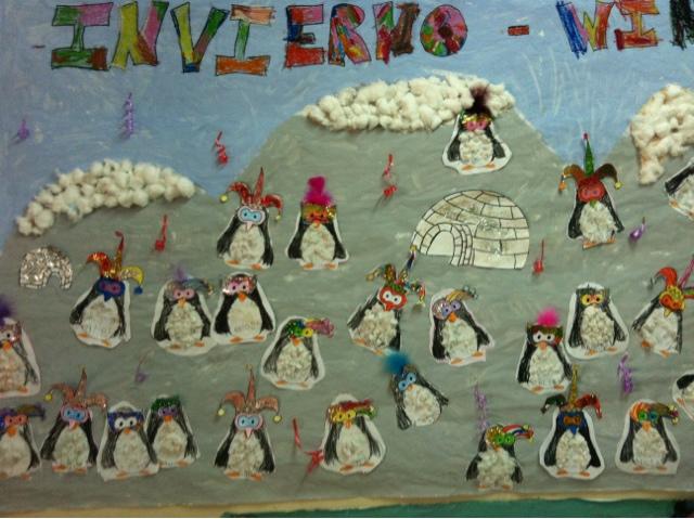 Decoracion Invierno Infantil ~ Para decorar en carnaval adaptamos el mural que hicimos para invierno