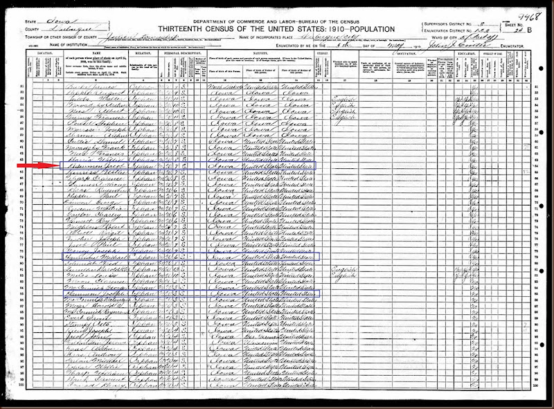 Hammond Jacob 1910 census highlighted