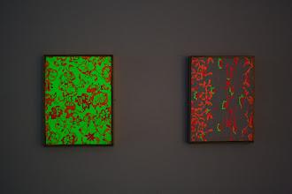 Photo: Hisachika Takahashi - Left: Untitled, 1966, acrylic on canvas, 25.5 x 19.5 cm / Right: Untitled, 1967, acrylic on canvas, 25.5 x 19.5 cm, (deposit Isi Fiszman)