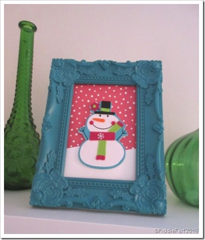 Framed Snowman Picture Christmas Shelf Decoration