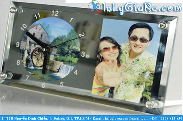 In Hình Lên Đồng Hồ Thủy Tinh Chữ Nhật