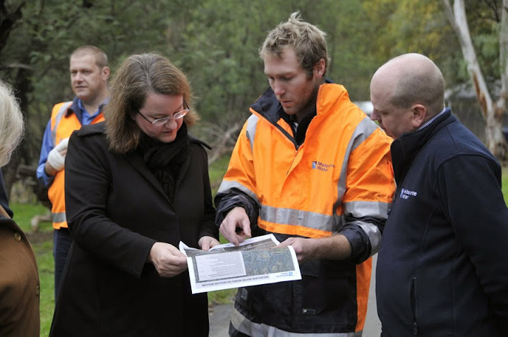 With Melbourne Water team at Mullum Mullum creek.