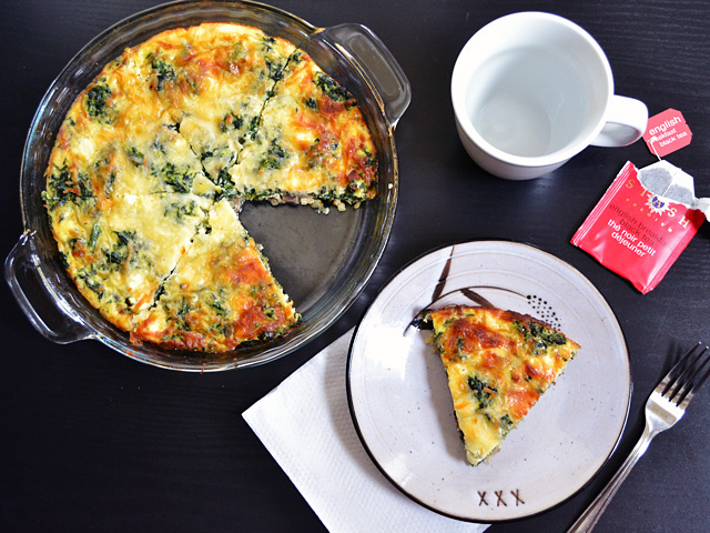 This easy and delicious Spinach Mushroom and Feta Crustless Quiche is low on carbs and big on flavor. This veggie filled breakfast will keep you full and happy. BudgetBytes.com