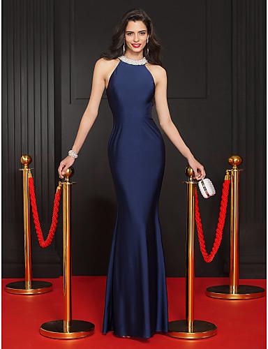 Vestido De Noche Sirena Azul Marino Oscuro Vestidos De