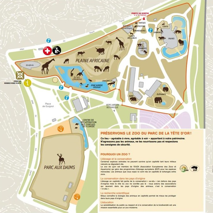 plan zoo Parc de la Tête d'Or Lyon