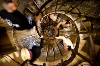 Photo: El Caracol Paris, France. 2011.  I showed up at the Arc de Triumphe, and to my delight, it was free admission day. (May have had something to do with the fact it was also veterans day). The stairs in between the massive legs of the arch go quite a ways, I could hear my heart thumping as I tried to steady myself to take this shot.  Handheld 17mm 1/6 sec f/4.0 @ 3200 ISO  Lesson learned, don't be afraid to crank up the ISO when you need to, and practice how to take a photo in between breaths and hertbeats (nod to +Barry Blanchard)  #Paris2011_RicardoLagos