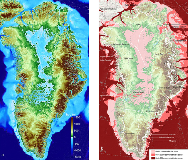 Left: Greenland topography color coded color-coded from 4,900 feet (1,500 meters) below sea level (dark blue) to 4,900 feet above (brown). Right: Regions below sea level connected to the ocean; darker colors are deeper. The thin white line shows the current extent of the ice sheet. Graphic: UCI
