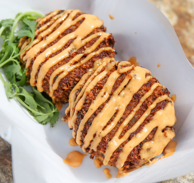 photo of two Cap 'N' Crunch Crab Cakes
